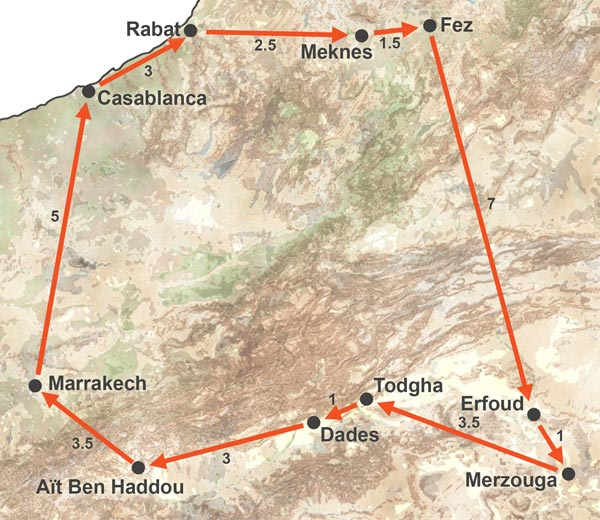 Imperial Cities of Morocco and the Sahara Trip. Trip to the Sahara and the Imperial Cities of Morocco