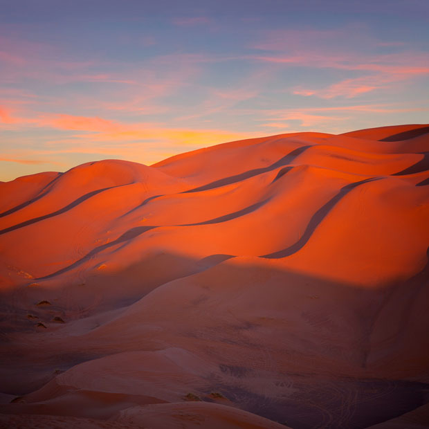 Enjoying the sunset is an essential thing to do in the Sahara desert (Morocco)