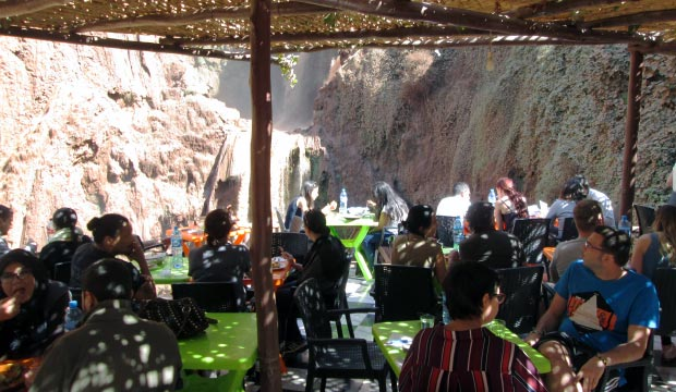 Recommended restaurants at Ouzoud Falls in Morocco are halfway