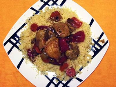 Moroccan chicken couscous. Couscous with chicken and vegetables