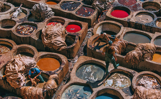 Chouara Tannery in Fes (Morocco) is the most iconic view from the heights of all Morocco
