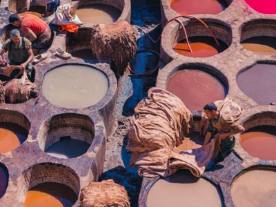 Fez tannery in Morocco. Tannerie chouara in Fes