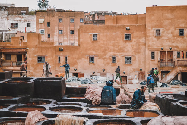 The Fez tanners of the Chowara tannery immerse the skins in vats filled with whitish liquid