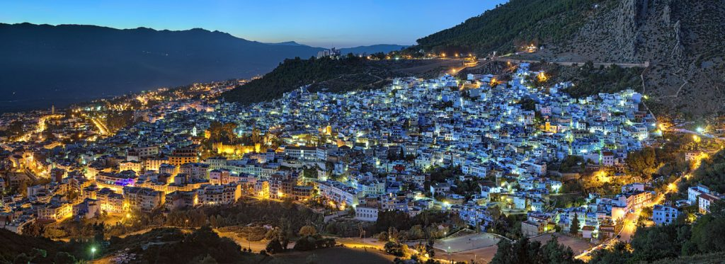 Panorama of Chefchaouen at sunset