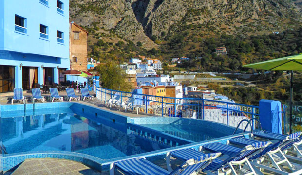 One of the best restaurants in Chefchaouen is Hotel Parador, with a large terrace