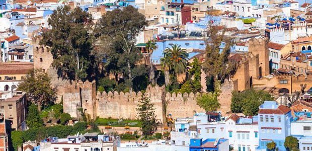 The alcazaba is located in Chefchaouen, the blue city
