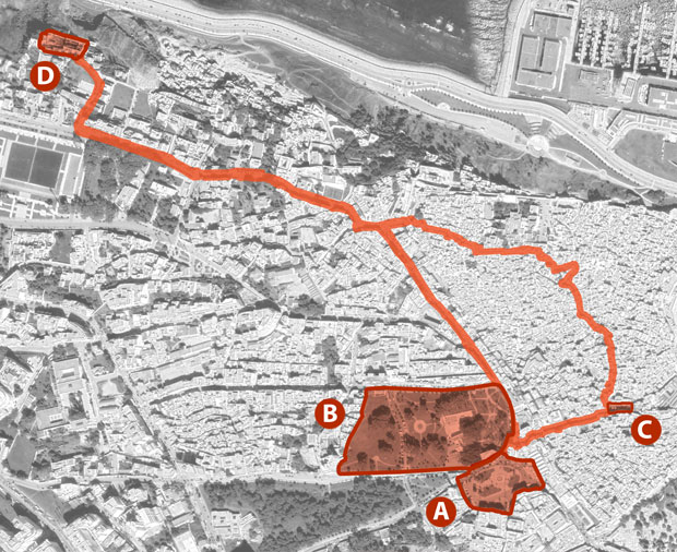 Access map to Cafe Hafa in Tangier