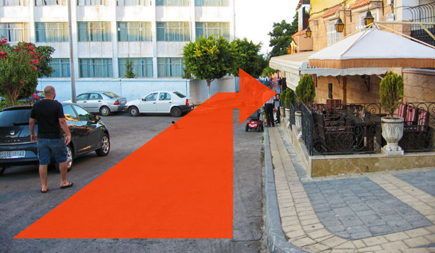 Access plaza to the Hafa Cafe in Tangier