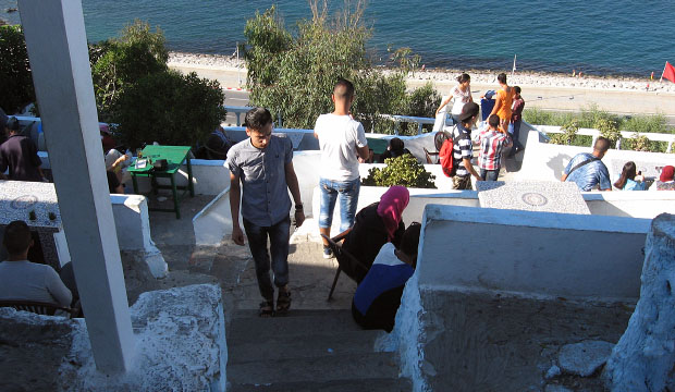 Stairs of Café Hafa in Tangier