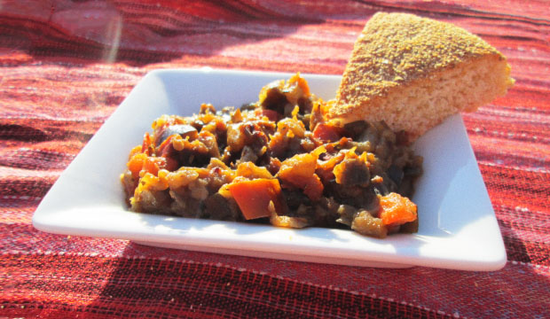 Moroccan Zaalouk is an aubergine salad served with bread