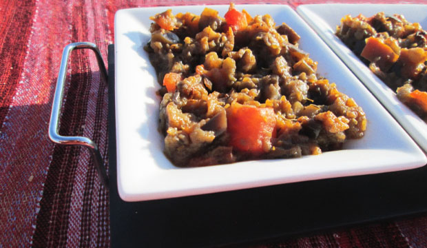Moroccan aubergine salad, also known as eggplant zaalouk, is normally served as a starter